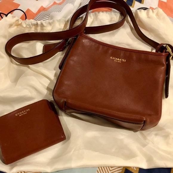 dc02c43690c Coach Handbags - Coach Legacy Cognac mini bucket crossbody   wallet